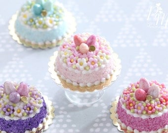 Spring Blossom Easter Egg Nest Cake (Light Pink) - Miniature Food in 12th Scale for Dollhouse