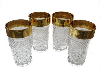 Mid Century Cut Glass Tumblers with Gold Band Rim