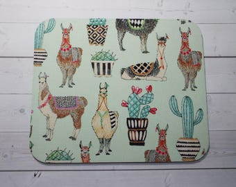 llamas succulents Mouse Pad mousepad / Mat - round -  Computer/Accessories  Custom Desk Coworker Gifts Office Gifts