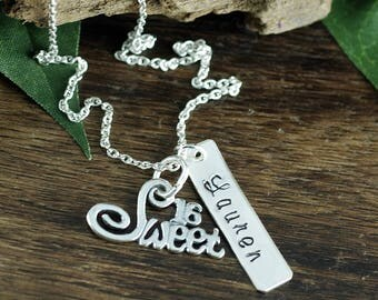 Sweet 16 Necklace, Sweet Sixteen Gift, Personalized Necklace, 16th Birthday Jewelry, Gift for Her, Sixteen Birthday Gift for Daughter