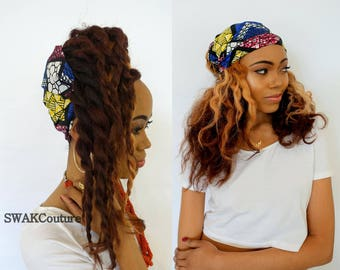 Satin Lined Wide Headband Wrap Ankara Head Wrap Pineapple Bun Wrap African Print Wrap - Noni or Choose Your Color