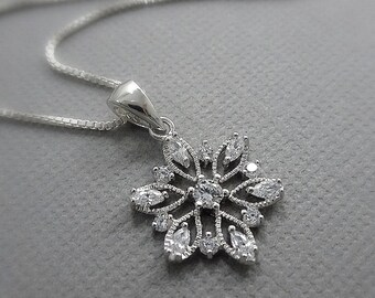 Snowflake Necklace, Sterling Silver and CZ Winter Bridesmaid Jewelry, Winter Bridesmaid Necklace, Christmas Necklace, Bridesmaid Gift