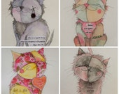 Exquisite beauties - set of 4 whimsical illustrated cat fundraising cards - blank inside - price incl. shipping!