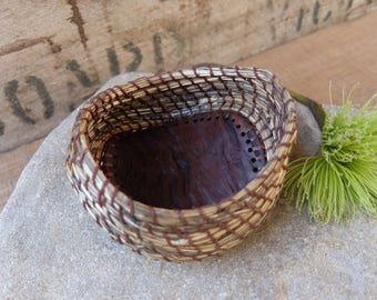 "Small basket hand woven from desert grass, eucalyptus wood, thread & the love for the land - ""being mindful"""