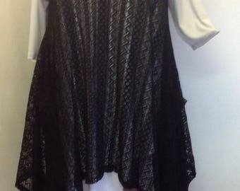 Coco and Juan, Plus Size Top, Lagenlook, Layering Tunic Top, Black Lace Size 2 Fits 3X,4X  Bust to 60 inches