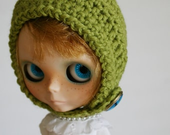 Blythe Gnome Helmet Pixie Hat - Glass Tree Cabochon Dome Button Green Grass Wool