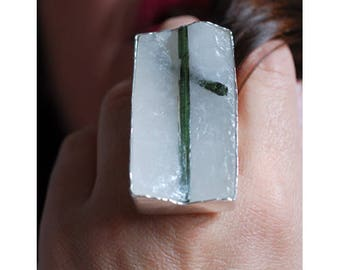 Grounded Ring Green Tourmaline Embedded In Quartz SZ 9