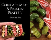 Luxury Meat & Pickles Platter - Rustic Wooden Board - Artisan fully Handmade Miniature Dollhouse Food 12th scale.