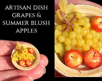 Artisan Dish with Grapes & Apples - Artisan fully Handmade Miniature in 12th scale. From After Dark miniatures.