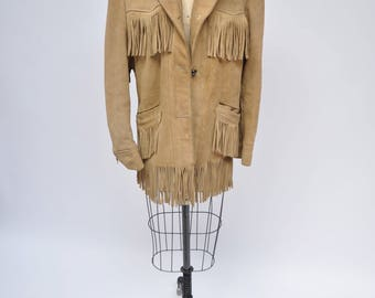 vintage fringe suede leather jacket womens 1970s festival western rock n roll oversized