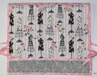 Quilted Sewing Machine Cover, Pink Grey, Vintage Dress Forms