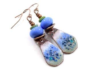 Periwinkle Blue Rustic Enamel Earrings, Boho Chic Earrings, Artisan Earrings, Tribal Earrings, Industrial Earrings, Small Earrings, AE228