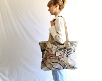 80s huge painted leather bag Botary tote