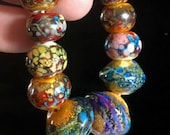 Rustic lampwork raku beads ooak set of 10 organic, tribal, prayer beads by paulbead blown glass bead, unique unusual beads ancient look