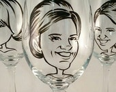 Fun Bridesmaid Gift - Vintage Style Original Caricature Wine Glass- Hand Painted Wine Glass - Bridesmaid Gift