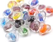 Glow in The Dark Heart Beads, 20pcs,  15mm,   Luminous Glass Beads, UV Beads -B555