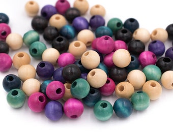 Colored Wood Beads,  12mm, 120pcs, Mixed Colors -B497