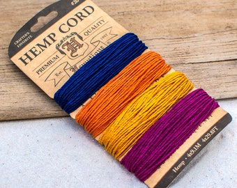 Hemp Cord, 1mm, 20lb, Colored Hemp,  Craft Cord,    Hemp Card, Sedona -CH50