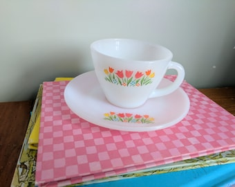 Vintage Red And Yellow Tulip Painted Tea Cup Pottery