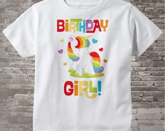 Unicorn Birthday Shirt, Unicorn Birthday Outfit, Birthday Girl Shirt, Rainbow Birthday Outfit, Birthday Girl Onesie 01222014b