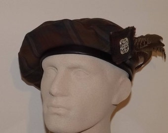 Men's Brown Tartan Beret, Scottish Tam, Celtic Tartan Hat with Feather, Clan Tartan Beret