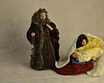 Needle felted Nativity Scene. Nativity Set. 3 pieces. READY TO SHIP