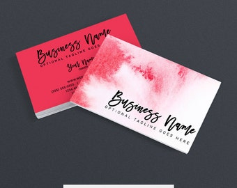 30% OFF SALE Etsy Shop Business Cards -  Business Card Design - Watercolor Business Card - Pink Business Card Design -  Watercolor 53917