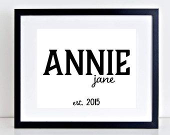 Baby Name Print, Custom Nursery Art, Baby Print Art, Baby Name Wall Art, Nursery Print, Nursery Name Print, Baby Name Sign, Nursery Decor