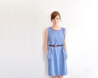 mod chambray shift dress . 1960 space age pockets . ric rac trim .medium.large .sale