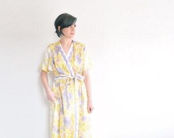 mustard yellow and purple rose dressing gown . 1960 scalloped robe dress .medium