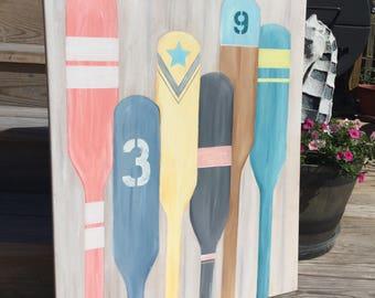Nautical Oar Canvas Painting LARGE Coastal and Beach Decor Custom