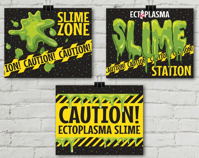 """Ghostbusters Slime 8"""" x 10"""" Signs - Ghostbuster Party, Birthday Party, Movie Party, Ghostbuster Decor   INSTANT Download PDF Printable Set"""