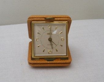 Vintage Florn Leather Travel Alarm Clock Working - Germany