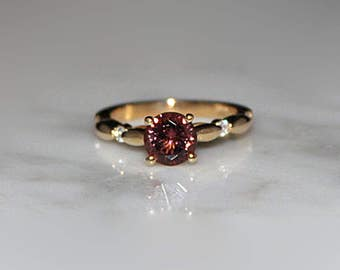 Pink Tourmaline Ring, Tourmaline Ring, Engagement Ring, Diamonds, Pink Tourmaline, Pink Stone Ring, October birthstone, 14k Gold Ring
