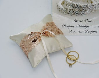 Dog Ring Bearer ~ Engagement Pillow Rhinestone Collar  ~ Rose Gold Blush Sequin ~ Crystal Buckle