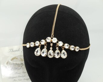 Hair Chain Gold & Rhinestone Headpiece Jewelry ~ Bohemian Headband Kundan Goddess BOHO Headchain