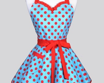 Sweetheart Pin Up Womans Apron - Red and Turquoise Polka Dot Retro Rockabilly Vintage Inspired Flirty Womans Kitchen Apron with Pockets