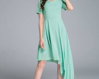 green dress, high low dress, summer dress, chiffon dress, flare dress, womens dresses, swing dress, party dress, evening dress, handmade1769
