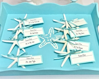 Beach Wedding - Starfish Escort Cards - Available in 15 Colors - wedding favors star fish