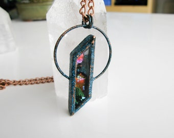 Electroformed Copper Necklace Modern Jewelry Large Glass Pendant Statement necklace OOAK boho jewelry spiritual necklace Fused Glass Pendant