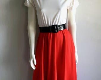 Vintage Women's 80's Red, White, Dress, Short Sleeve, Knee Length (M)