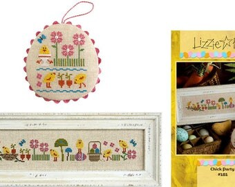 Chick Party - Cross Stitch Pattern by LIZZIE KATE Easter - Spring - Easter Eggs - Basket - Flowers