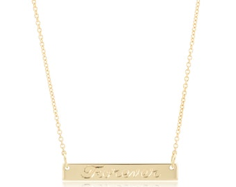 Small 14K Gold Bar Necklace, Personalized Engraved Bar Necklace, Name Necklace, letter necklace, gift for her