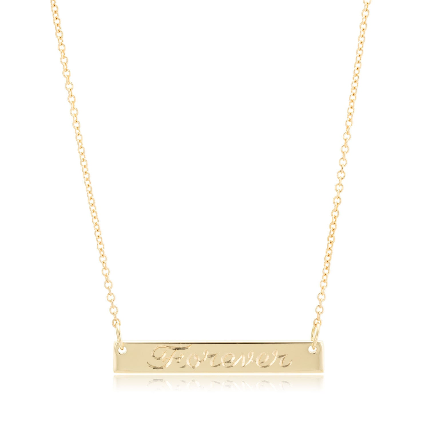 small 14k gold bar necklace personalized engraved bar