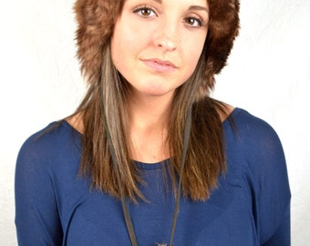 Vintage Brown Warm Shearling Sheepskin Lamb Fur Winter Hat