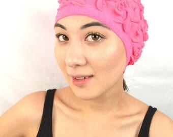 Vintage Kitschy Pink WOW Flower Swim Cap