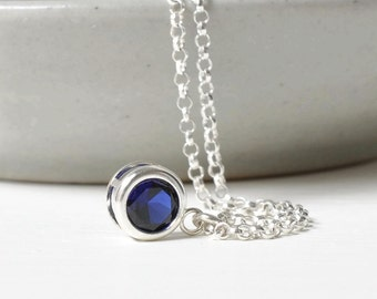 Sterling Silver Bezel Set Sapphire Necklace / Small Sapphire Solitaire Pendant / September Birthstone Necklace / 16 inch / 18 inch/ 20 inch
