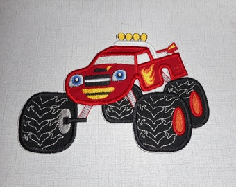 Free Shipping Ready to Ship Monster Truck Machine Embroidery iron on applique
