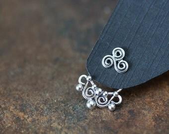 Artisan handmade silver ear jacket earring SET with Celtic triskele studs, solid sterling silver front back earrings