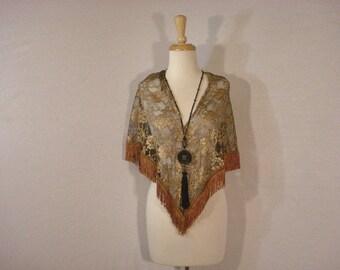 Accessory Scarf Wrap Shawl Sarong Gold Floral Copper fringe Boho Gypsy